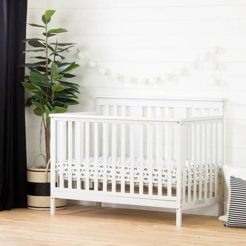 South Shore - Little Smileys - Lit de bébé avec barrière de transition - Blanc solide