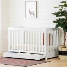 South Shore - Yodi - Lit de bébé avec tiroir et barrière de transition - Blanc