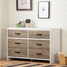 South Shore - Hankel - Commode double 6 tiroirs - Chêne vieilli et blanc solide