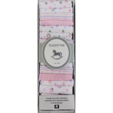 Tendertyme - Ensemble de 16 débarbouillettes en tissu-éponge - Rose
