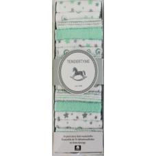 Tendertyme - Ensemble de 16 débarbouillettes en tissu-éponge - Vert