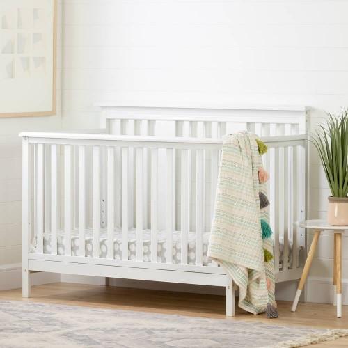 South Shore - Cotton Candy - Lit de bébé moderne 4 hauteurs avec barrière de transition - Blanc solide 11849