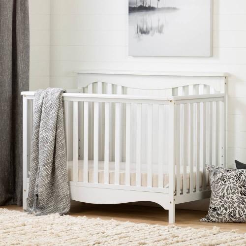 South Shore - Savannah - Lit de bébé 4 hauteurs avec barrière de transition - Blanc solide