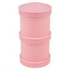 Re-Play - Snack Stacks - Contenants interchangeables et empilables en plastique recyclé - Rose bébé