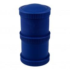 Re-Play - Snack Stacks - Contenants interchangeables et empilables en plastique recyclé - Bleu Marine