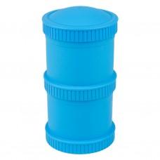 Re-Play - Snack Stacks - Contenants interchangeables et empilables en plastique recyclé - Bleu ciel