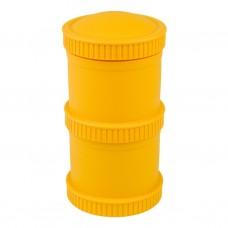 Re-Play - Snack Stacks - Contenants interchangeables et empilables en plastique recyclé - Jaune soleil