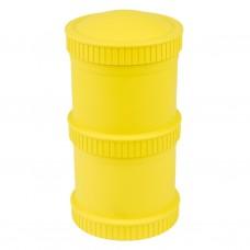 Re-Play - Snack Stacks - Contenants interchangeables et empilables en plastique recyclé - Jaune