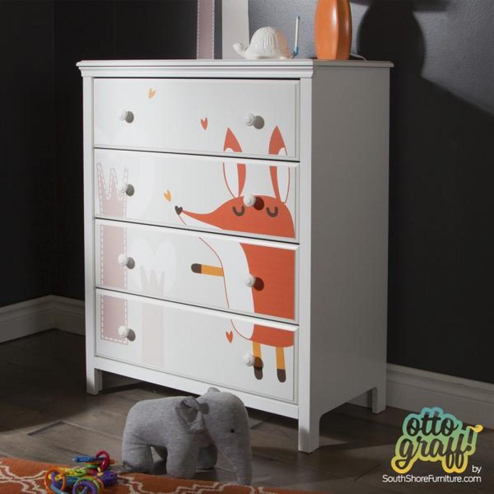 rive sud bureau 4 tirroirs cotton candy blanc avec autocollant de renard. Black Bedroom Furniture Sets. Home Design Ideas