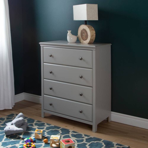 South Shore - Cotton Candy - Commode 4 tiroirs - Gris clair
