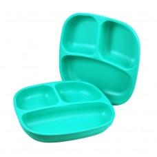 Re-Play - Assiette divisée de 7 po en plastique recyclé - Aqua