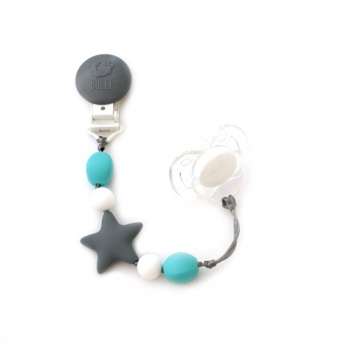 Bulle Bijouterie - Attache-suce étoile Nano Gris, blanc et turquoise