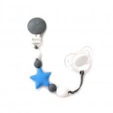 Bulle Bijouterie - Attache-suce étoile Bleu ciel, gris et blanc