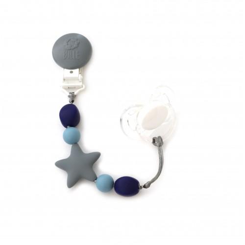 Bulle Bijouterie - Attache-suce étoile Nano Gris, bleu acier et marine