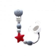 Bulle Bijouterie - Attache-suce étoile Rouge, gris pâle et gris