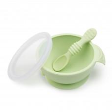 Bumkins - Ensemble d'alimentation bol avec couvercle et cuillère en silicone - Vert Sauge