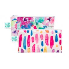 Bumkins - Petits sacs à collation - Paquet de 2 - Fleurs pastels