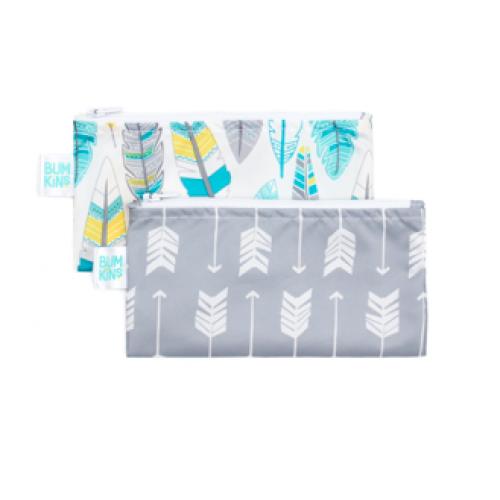 Bumkins - Petits sacs à collation - Paquet de 2 - Flèches, plumes