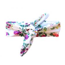 Baby Wisp - Top Knot Headband - Imprimé Floral Blanc