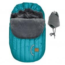 Perlimpinpin - Couvre-siège d'auto et chapeau de polar - Hiver - Émeraude