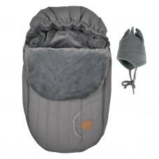Perlimpinpin - Couvre-siège d'auto et chapeau de polar - Hiver - Gris