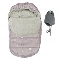 Perlimpinpin - Couvre-siège d'auto et chapeau de polar - Hiver - Cerfs prune