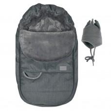 Perlimpinpin - Couvre-siège d'auto et chapeau de polar - Hiver - Charcoal texturé