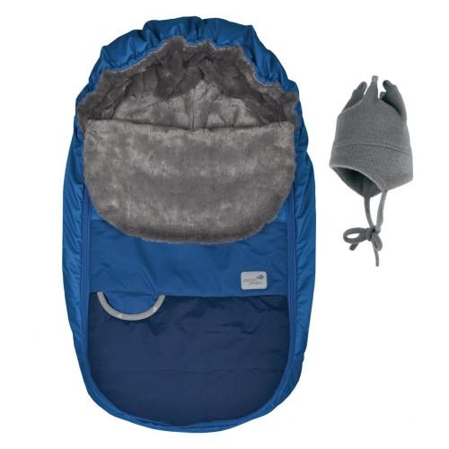 Perlimpinpin - Couvre-siège d'auto et chapeau de polar - Hiver - Bleu