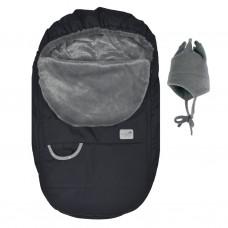 Perlimpinpin - Couvre-siège d'auto et chapeau de polar - Hiver - Noir