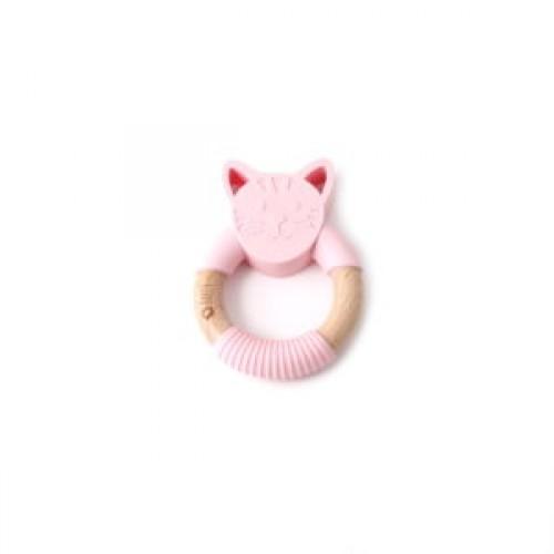 Bulle Bijouterie - Hochet animal – Chat rose