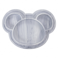 Kushies - Siliplate - Assiette en silicone - Ourson Marbre