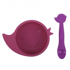 Kushies - Silibowl - Bol et cuillère en silicone - Fille