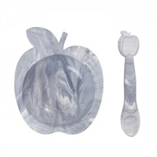Kushies - Silibowl - Bol et cuillère en silicone - Marbre