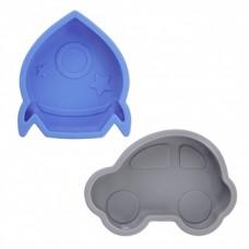 Kushies - Silidip - Paquet de 2 mini-bol en silicone - Fusée / Voiture