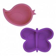 Kushies - Silidip - Paquet de 2 mini-bol en silicone - Oiseau / Papillon