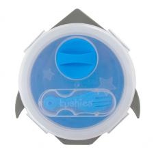 Kushies - Silibox - Contenant et ustensiles en silicone - Fusée bleue