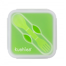 Kushies - Silibox - Contenant et ustensiles en silicone - Carré lime