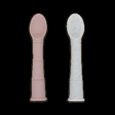 Kushies - Silipop - Cuillères en silicone - Paquet de 2 - Rose et gris