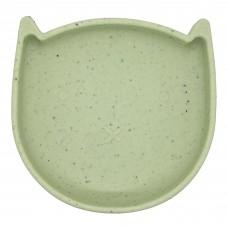Kushies - Silikitty - Assiette en silicone - Chaton Vert Émeraude