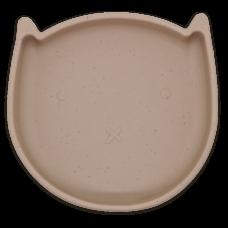 Kushies - Silikitty - Assiette en silicone - Chaton Beige Amande