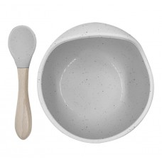 Kushies - Silibowl and spoon - Cuillère et bol en silicone - Gris