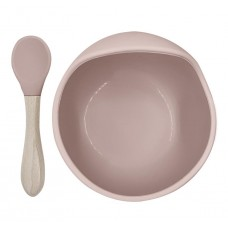 Kushies - Silibowl and spoon - Cuillère et bol en silicone - Rose