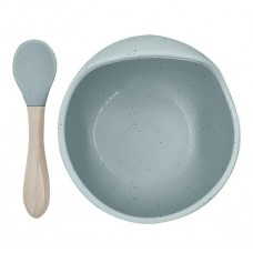Kushies - Silibowl and spoon - Cuillère et bol en silicone - Vert