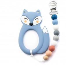 Little Cheeks - Jouet de dentition avec attache - Renard bleu