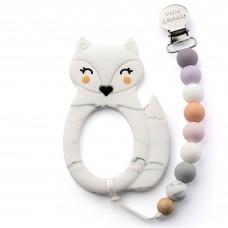 Little Cheeks - Jouet de dentition avec attache - Renard marbre