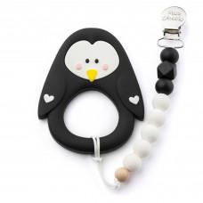 Little Cheeks - Jouet de dentition avec attache - Pingouin noir