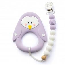 Little Cheeks - Jouet de dentition avec attache - Pingouin lilas