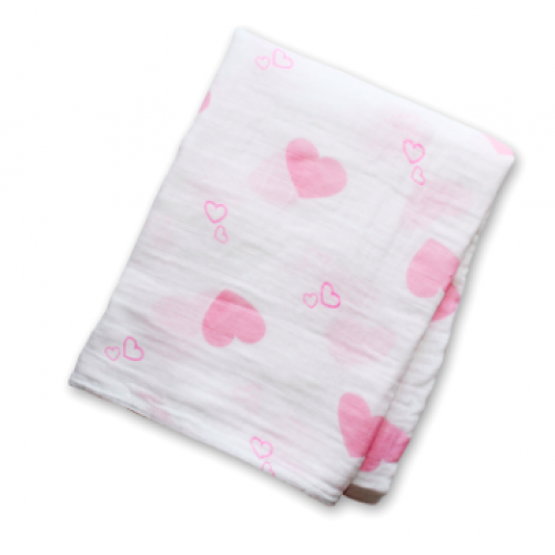 Lulujo - Mousseline de coton - Coeurs roses