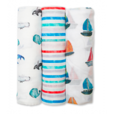 Lulujo - Mousseline de bamboo - Paquet de 3 - Out to sea