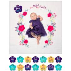 Lulujo - Ensemble couverture et cartes d'âge - Première année de vie - Stay Wild My Child